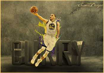 Stephen Curry basketball star vintage poster of a vintage kraft paper bar decorative wall sticker classic paintings 3
