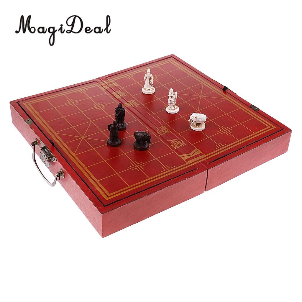 MagiDeal Traditional Finest Chinese Chess Wooden Folding Chessboard Set Broad Puzzle Game Tabel Toy for Children Adult Leaders
