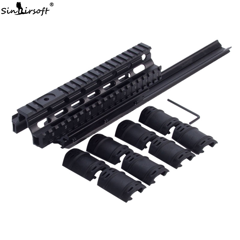 SNAIRSOFT Saiga Tactical Quad Rail See-through Scope Mount Weaver Forend for AK47 74 with Rubber Covers Picatinny SA4049 free shipping saiga12 tactical quad rail system fits saiga 12 ga and compatible variants free black rubber guards