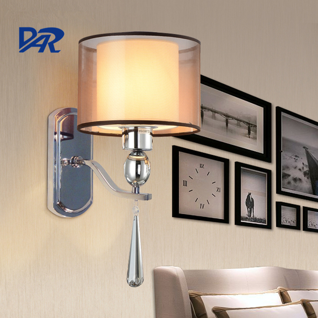 Europe Fabric Shade Wall Light Delicate Mounted Bedside Lamp Smokey Gray Crystal Pendant Bedroom Led Lighting Fixtures
