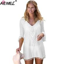 ADEWEL Crochet Pom Pom Trim Beach Dress Loose Women Dress Lace Patchwork Summer Dress Casual Plus Size Dress in white black Blue crochet trim floral print dress