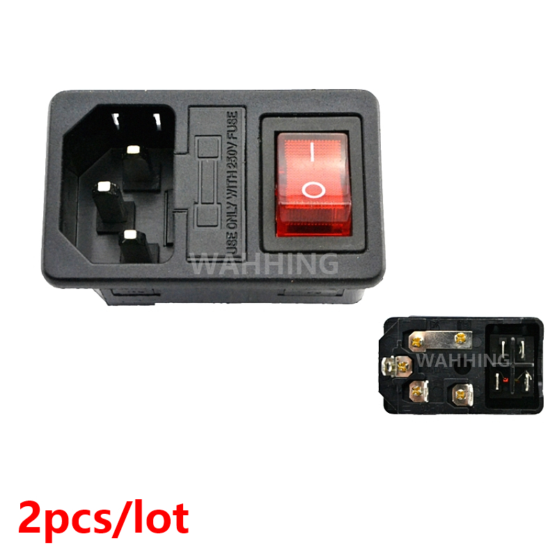 2pcs Red Light Power Rocker Switch Fused IEC-320 C14 3Pin Inlet AC Power Socket Adapter Connector Plug 10A 250V AC-01 HY1269