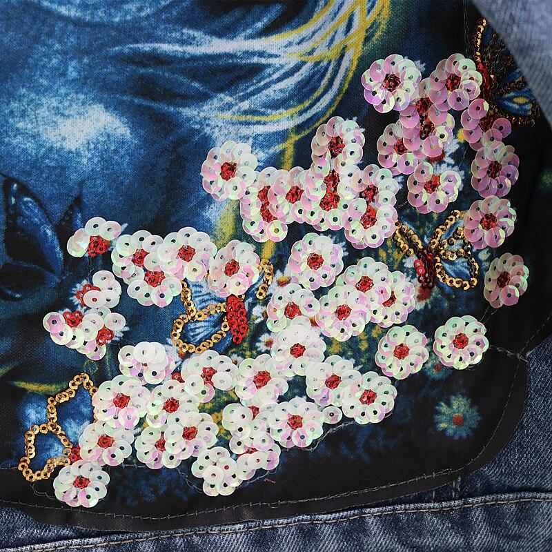 Vestes Femelle Femmes Animé Étudiant Printemps Outwear Bleu Perles Manteau Dessin Lâche Denim Trous Nouveau Des 2019 Paillettes Jeans Automne Décontractés En I6wvvY