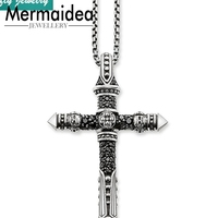 Skull Cross Pendants Necklaces Link Chain Punk Rebel Vintage Fashion Jewelry Women Men 925 Sterling Silver Gifts Collier