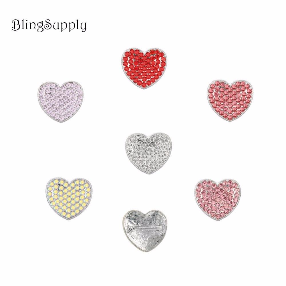 Envío libre 19X17mm Botón del rhinestone del corazón con 3/8 slider ...