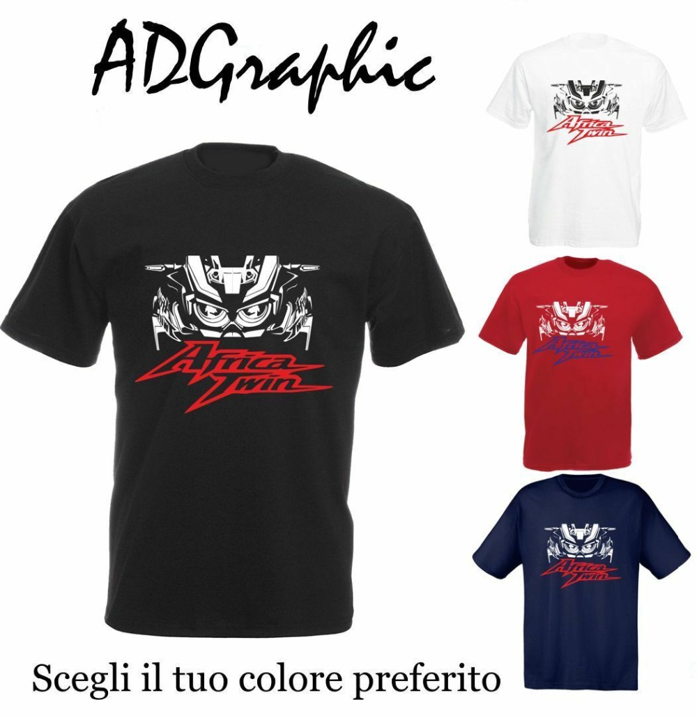 2019 Newest Letter Print  Cotton Hon Africatwin Africa Twin CRF1000L CRF 1000L Motorcycle Motorrad T-shirt