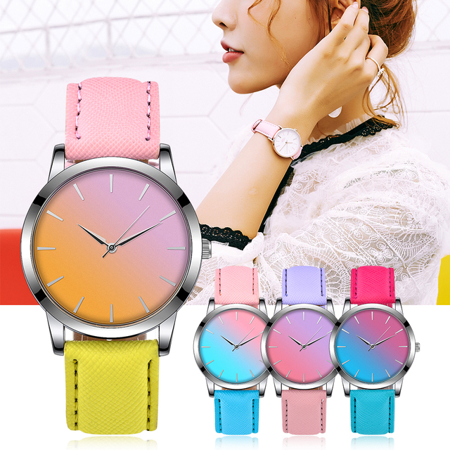FUNIQUE Casual Womens Watches Fashion Candy Color Student Quartz Watch Leather S