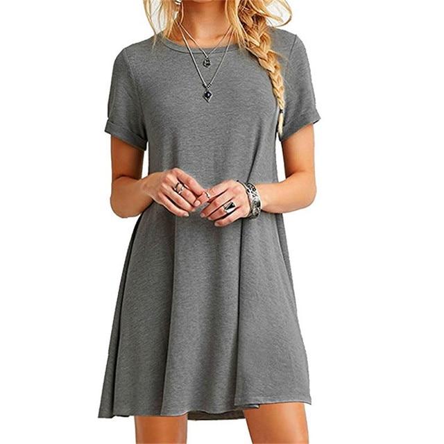 High Quality Fashion Women Black Blue Dress Summer Short Sleeve O-Neck Casual Loose Dress Female Street Plus Size Dress Vestidos 3