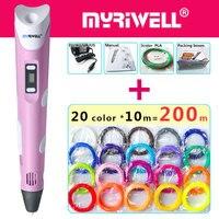 Myriwell 3d Ручка 3d ручки светодио дный светодиодный дисплей, 20Colour200m ABS/PLA нити, модель Smart 3d печать Ручка лучший подарок для Kidspen-3d печать Ручка