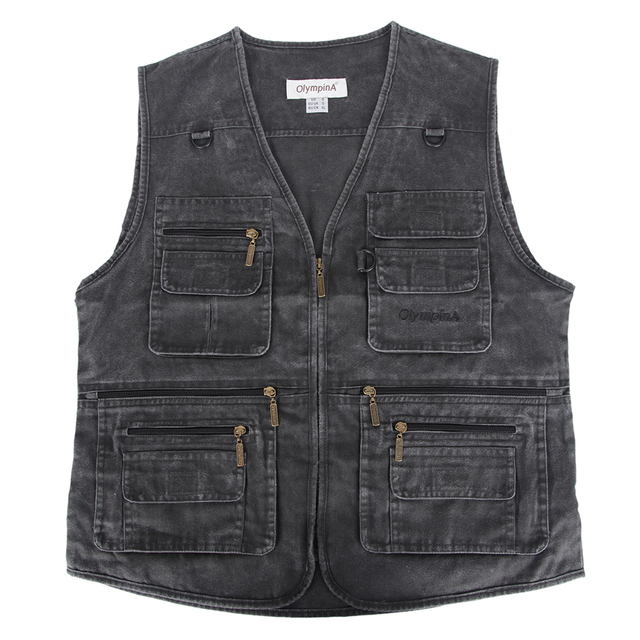 026345845a258 Men s Denim Vest Jean Sleeveless Jacket Waistcoat With Many Pockets  Photography Casual Coats   Jackets Plus large size 10XL