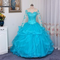 Sweetheart Neckline Peacock Blue Ball Gown Long Sleeves Quinceanera Dresses Crystals Ruffled Gown For Sixteen Girl