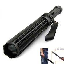 telescopic baton self defense flashlight led 18650 battery rechargeable car torch lamp waterproof zoom no electric shock light
