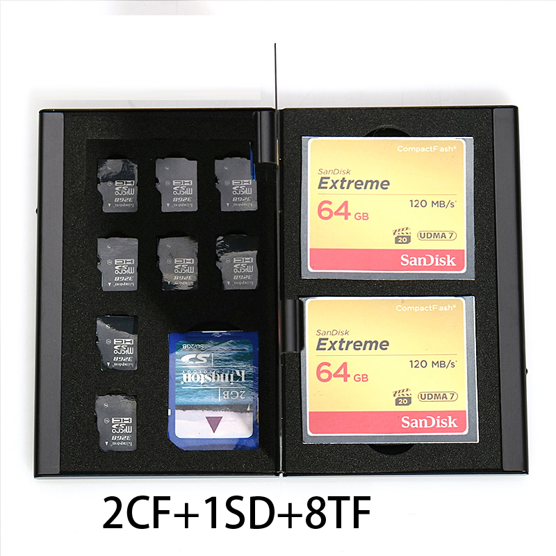 11 in 1 Aluminum Storage Box Bag Memory Card Case Holder Wallet Large Capacity For 2* SD Card 2* CF Card 8*MicroSD Card1*SD Card
