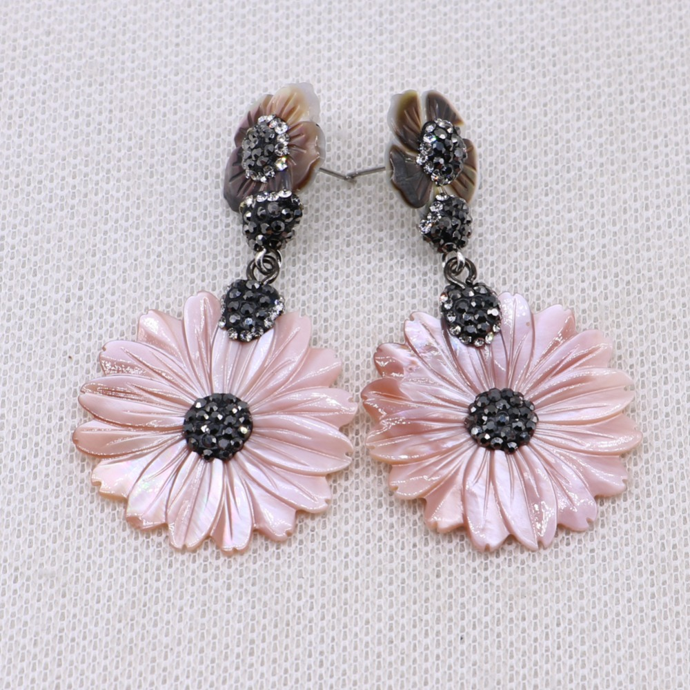 Fashion Simple style Flower earrings drop pave rhinestone earrings shell earrings fashion jewelry gift to lady 4449