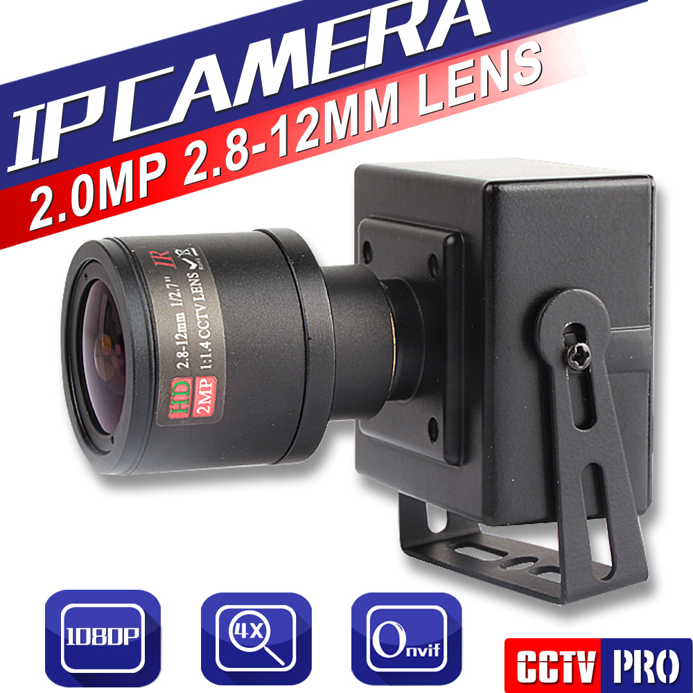imágenes para Full HD 1080 P 2.0MP 25fps Mini Cámara IP ONVIF 2.8-12mm Manual Lente de Zoom Varifocal P2P Plug and Play Con Soporte PC Moblie vista