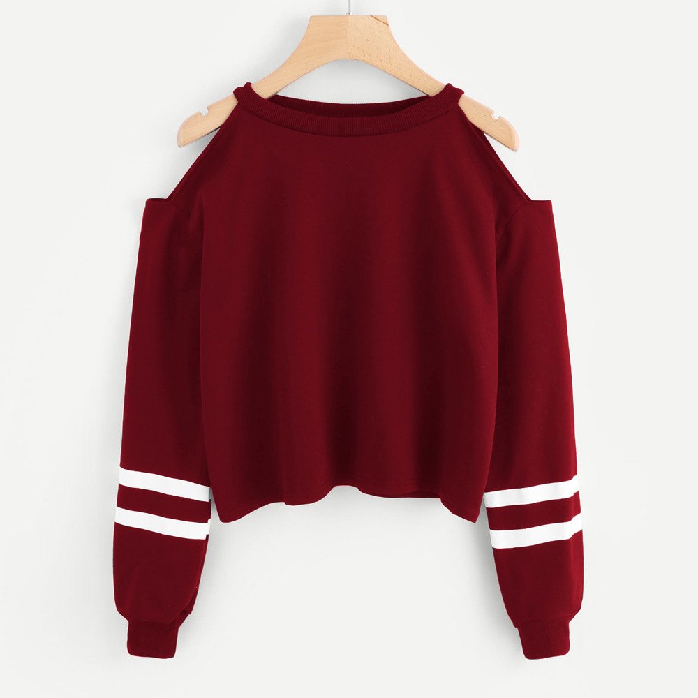 Women Off Shoulder Hoodies Fashion Stripe Long Sleeve Harajuku Jumper Pullover Sweatshir Autumn Casual Women's Clothing #10$