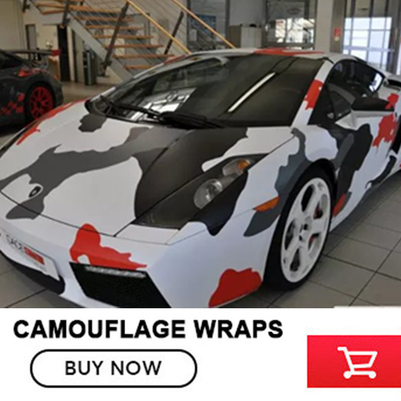Car Styling Camo Vinyl Wrap red gray white 5/10/15/20/25/30m Camouflage Vinyl Film Air Drain For Vehicle Auto Car Body Wraps