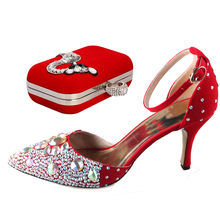 Hot red D'orsay pointed toe flock skin woman lady heels shoes with matching crystal fox clutch bag handbag wedding party banquet