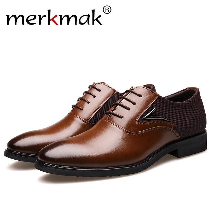 Merkmak Luxury Brand Men font b Shoes b font England Trend Leisure Leather font b Shoes