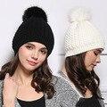 2017 Corea mujer Fur Pom Pom Sombrero Grueso Suave Slouchy Pompones Beanie Sombrero de Invierno Gruesa Giro de Punto Sombreros Para Las Mujeres y Las Niñas