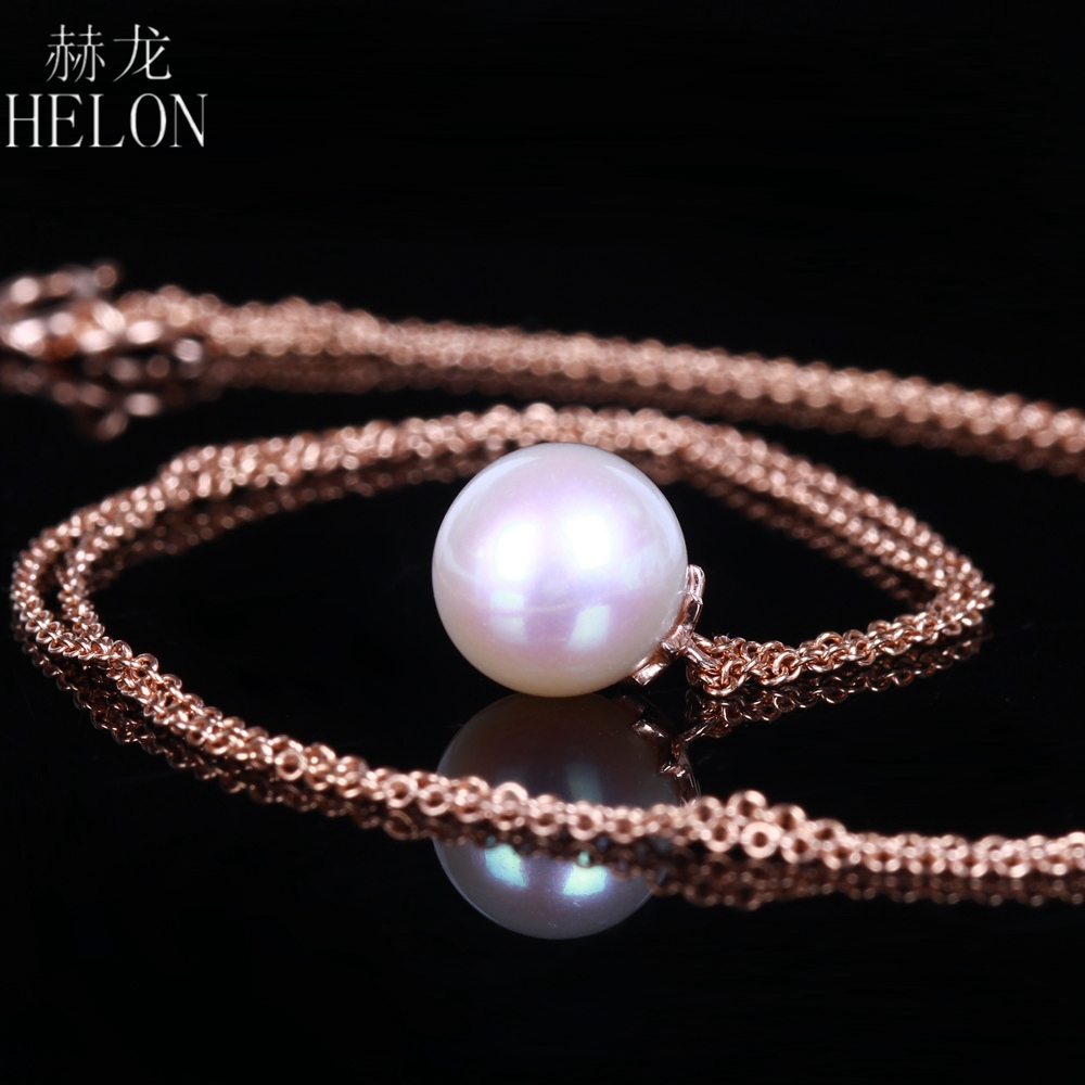HELON Elegant Dangle Round 8mm White Fresh Water Pearl Chain 18K Solid Rose Gold Simple Design Pearl Necklace Women Jewelry