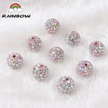 Розовый кристалл Шамбала глина кристалл диско шар бусины диско шар DIY для браслета ювелирных изделий Аксессуары 10 шт./лот 10 мм