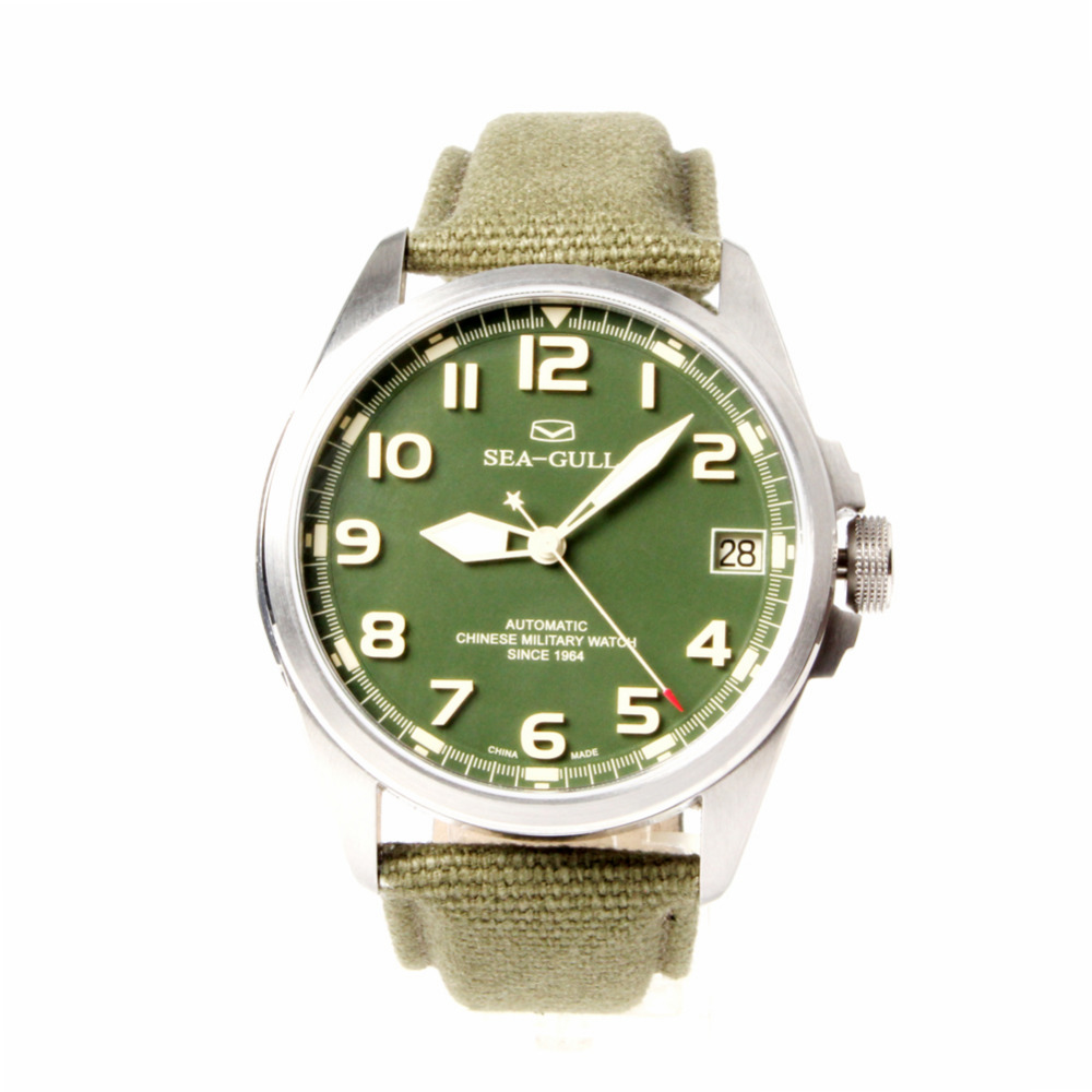 Seagull Automatic Chinese Military Watch Luminous Numerals Green Dial Sea-gull D813.581