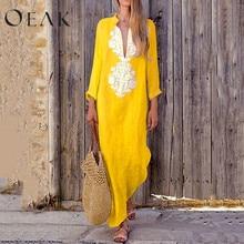 Oeak Autumn Women Plus size Linen Dress Retro Cotton Shirt Dress Long Sleeve Casual Line Blouse Dress S-3XL