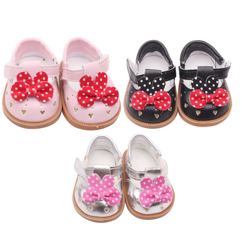 shoes for 18 inch american girl doll cute Zapf Born 3 kinds of color princess PU shoes and clothes accessories Gift for girls