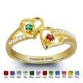 Anillo de plata personalizado grabado y Birthstone anillo de nombre de doble corazón personalizado joyería regalo de amor único (RI101797)