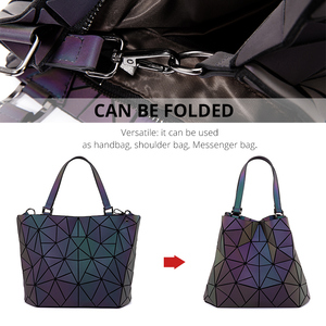 Image 3 - Lovevook bag set women handbag luxury designer folding crossbody shoulder bag female purse and ladies geometric luminous bag