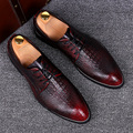 Estilo de inglaterra de los hombres vestidos de partido del club nocturno zapatos de piel de cocodrilo patrón de cuero de vaca transpirable oxford zapatos primavera verano zapato