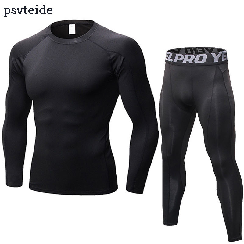 Mens Workout Sport Outfits Athletic Tights Compression Long Pants and T Shirts