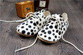100pairs/lot Polka Dot Genuine Leather Horse Hair Leopard Toddler Baby Moccasins First Walker Bebe Newborn Infant Soft Shoes