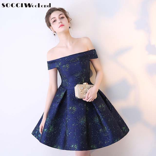 SOCCI 2017 Girls Short Elegant Prom Dress Navy Blue Boat Neck Off ...