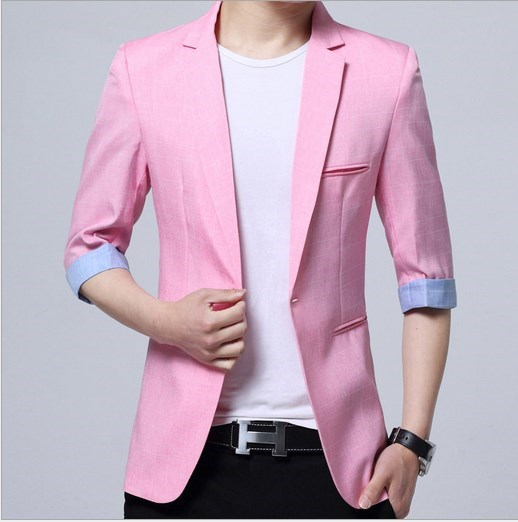 men's slim fit blazers and suit jackets men candy color summer blazers short sleev mens short sleeve blazer black blue pink red