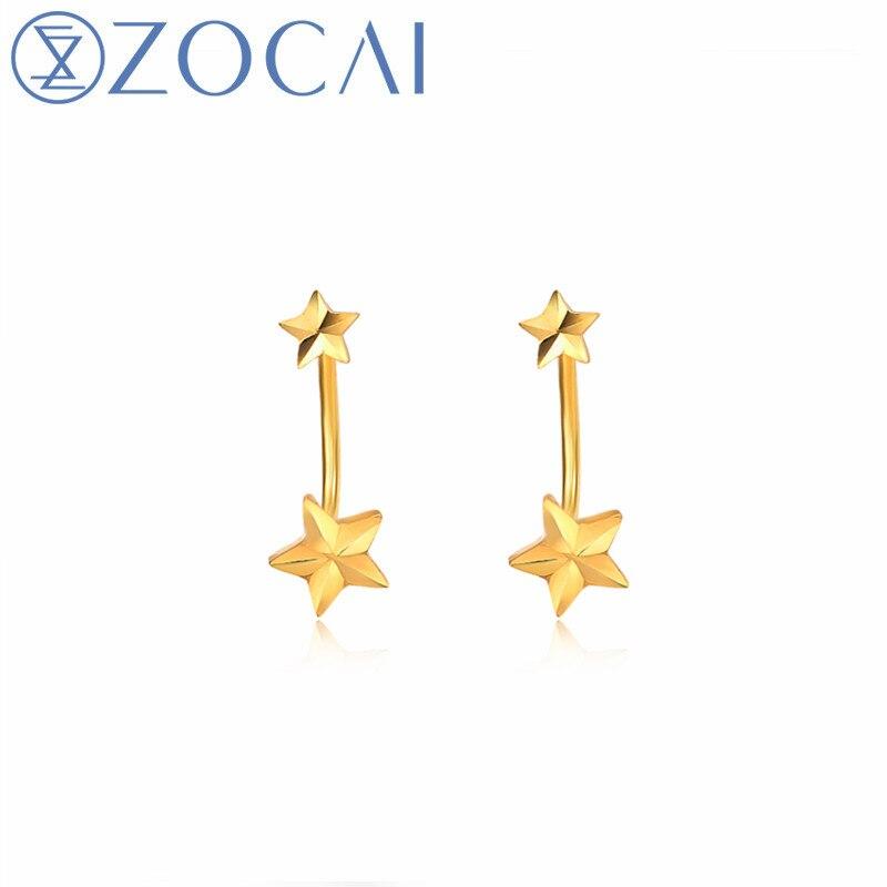 ZOCAI nouveau arrivé 18 k or jaune boucles d'oreilles étoile forme cadeau boucles d'oreilles fines E01042 livraison gratuite
