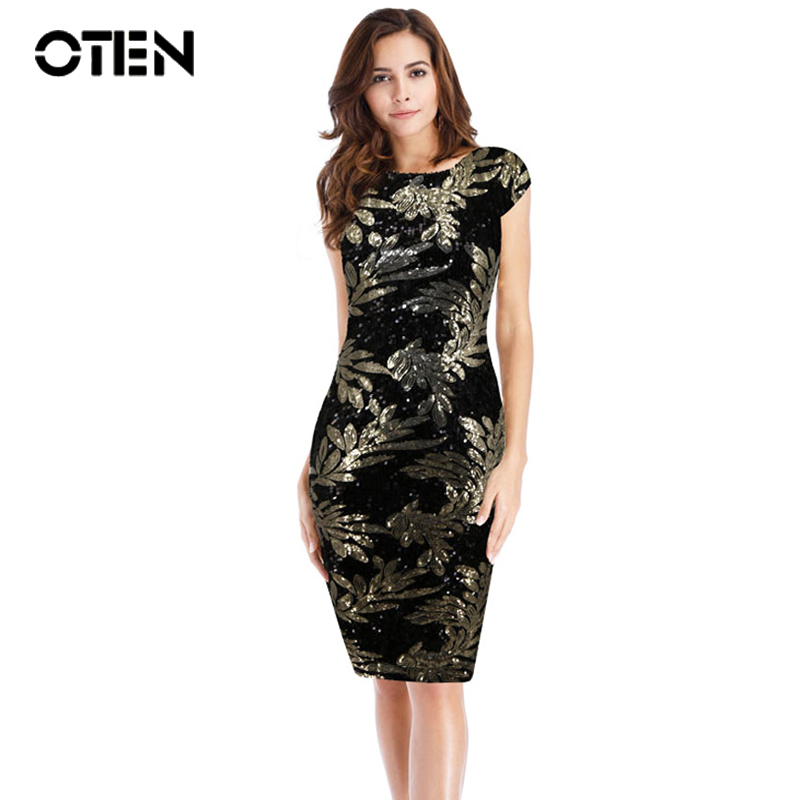 OTEN Women Clothing Sexy Summer Cap Sleeve Leaf Sequined Patchwork Backless Party Evening Elegant Dress Robe Femme Moulante 2018
