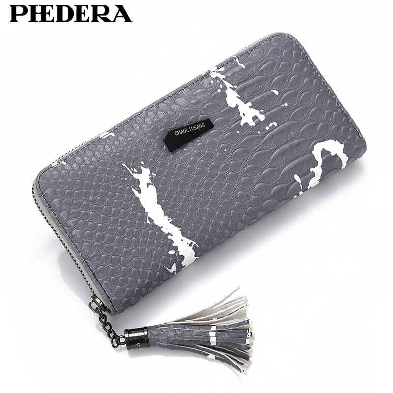 New Luxury Alligator Pattern Long Women's Wallet Fashion Leather Female Wallets Purse Carteira Lady Clutch Designer Bag