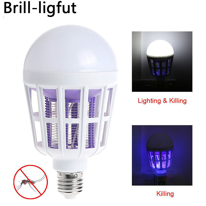 E27 9W 15W Indoor 2 In 1 Mosquito Killer LED Lamp Bulb 220V Insect Anti-Mosquito Repeller For Home Night Light Killing Fly Bug