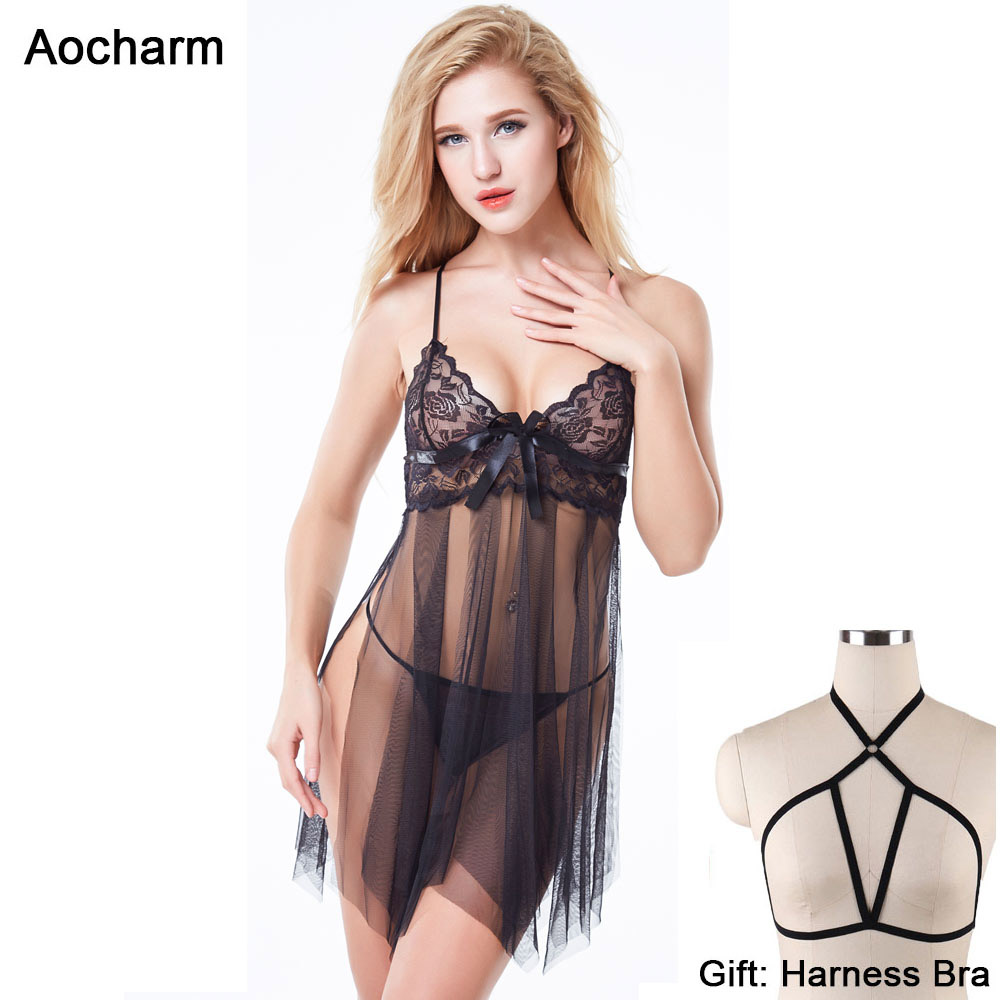 Lingerie Sexy Hot Erotic Babydoll Dress Plus Size Lingerie Women Lace Open Front Night Grown Sleepwear Erotic Lingerie Chemises in Babydolls Chemises from Novelty Special Use