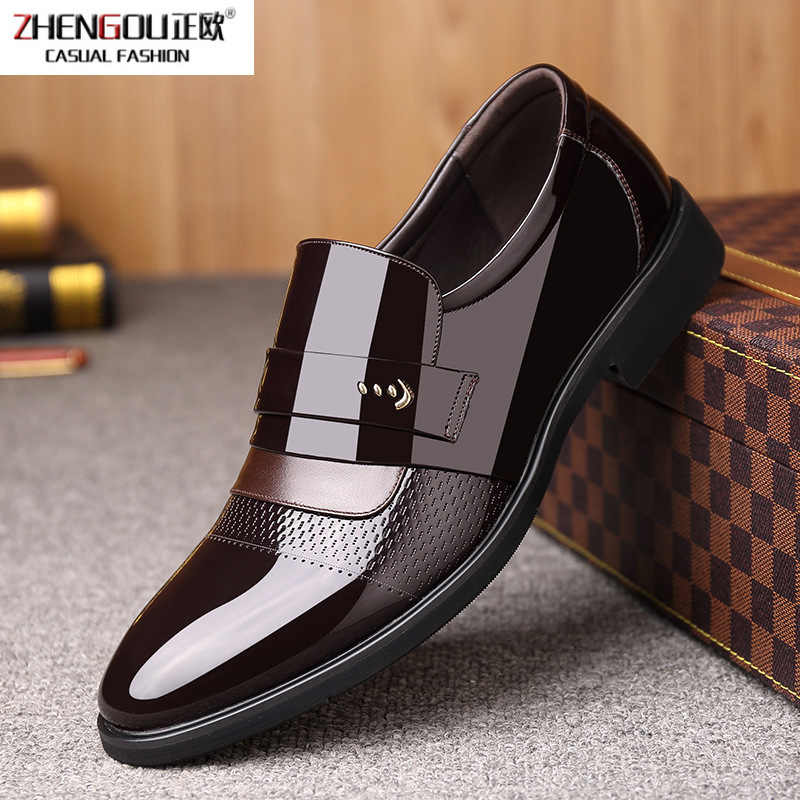 zhengouSharp Pearlite Layer Patent Business Affairs Correct Dress Leisure Time Man Leather Marriage Shoes Male Shoe