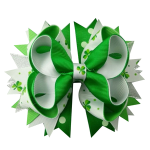 Image 2 - 6pcs  St. Patrickday green Funny Clover Faux hairgrips Hair Bows Grosgrain Ribbon For Girls Hair Accessories Boutique gifts