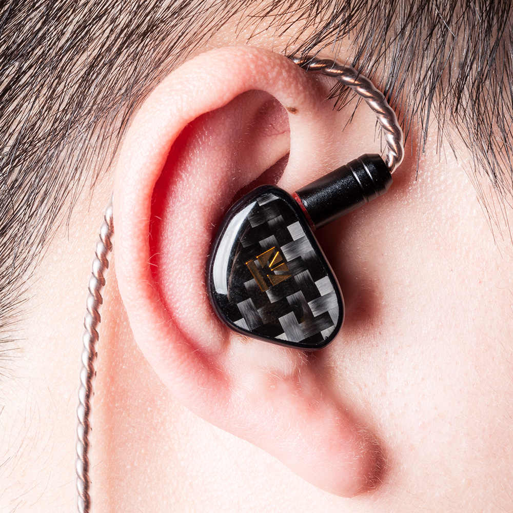 KB หูโอปอลแบบไดนามิก HIFI In EAR หูฟังคาร์บอนไฟเบอร์ชุบชุดหูฟัง 3.5MMCX ปลั๊กอุดหูโลหะชุบโลโก้หูฟัง
