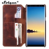 Solque Real Genuine Leather Flip Wallet Cover Case For Samsung Galaxy Note 8 Note8 Cell Phone