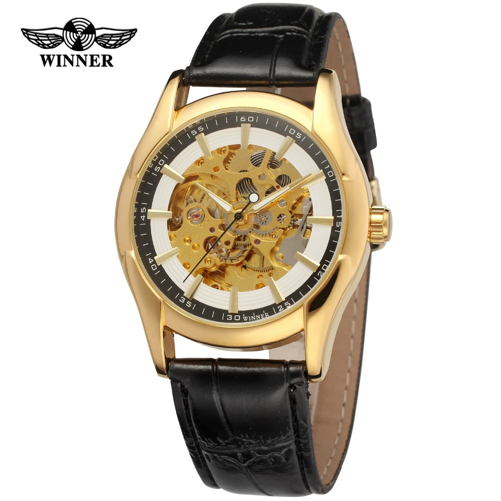 Winner Men s Watches New Style Fashion Luxury Skeleton Genuine Leather Strap Famous Brand Wristwatches Color