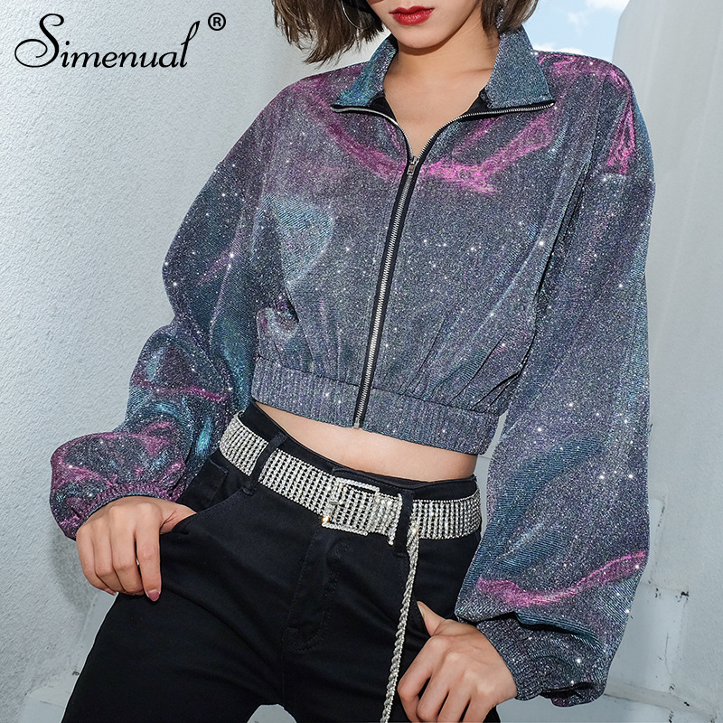 Simenual Sequin Metallic Women Sweatshirt Zipper Long Sleeve Crop Tops Korean Oversize Turtleneck Hoodies Streetwear 2019 Spring