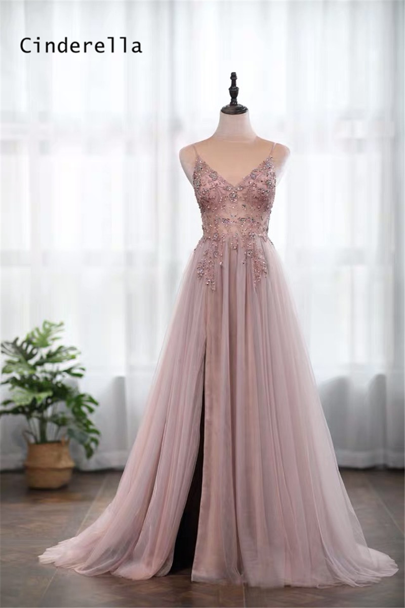 Cinderella-Champagne-V-Neck-Sleevless-Crystal-Beading-Soft-Tulle-Evening-Dresses-Prom-Party-Gowns-Evening-Dresses