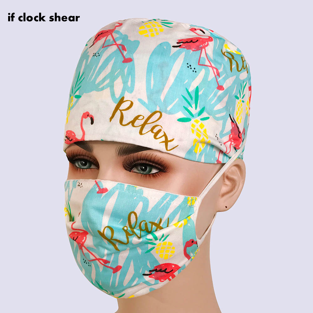 Unisex Cotton Breathable Print Adjustable Pet Hospital Work Hats Surgical Cap Doctor Nurse Cap Beauty Pharmacy Hat Medical Wrap