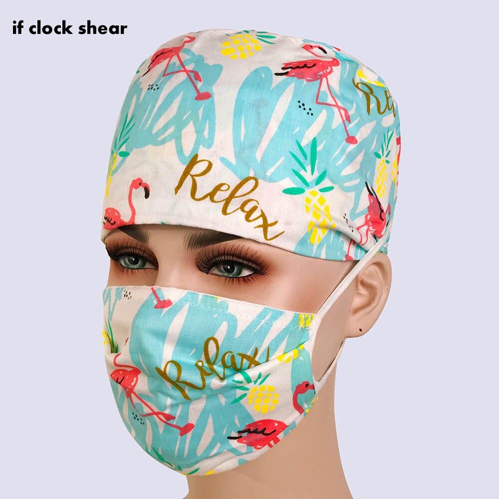 Unisex Cotton Breathable Print Adjustable Pet Hospital Work Hats Surgical Cap Doctor Nurse Cap Beauty Pharmacy Hat Medical Wrap